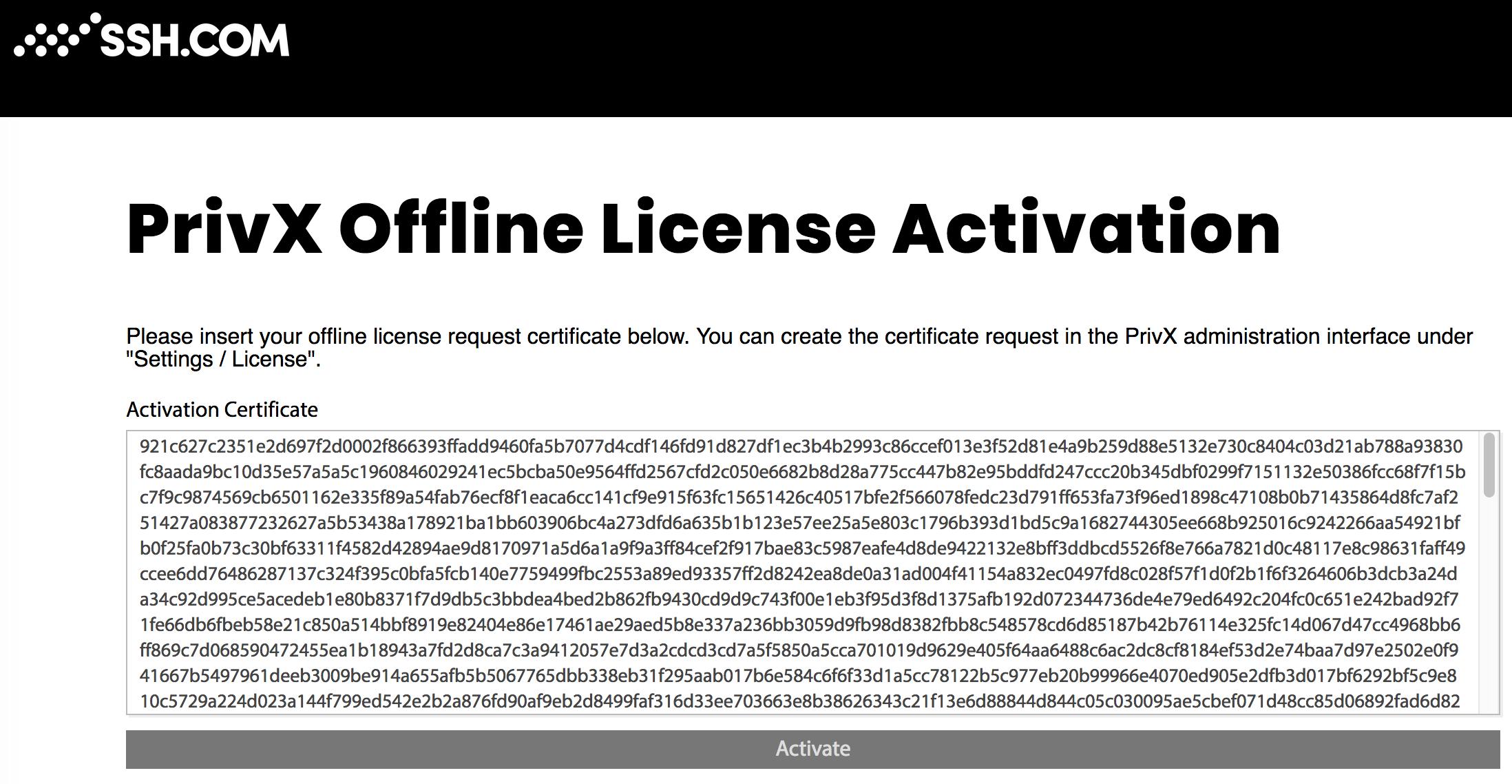 Offline License Activation Certificate