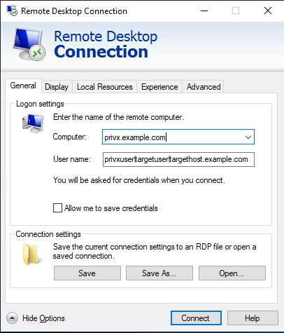 Direct-connection example with Windows Remote Desktop Client